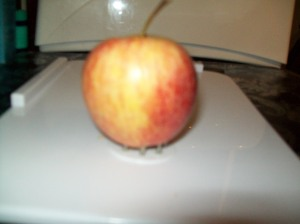 apple on chopping board